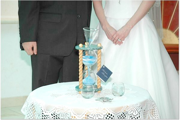 Photo of Heirloom Hourglass Wedding Unity Sand Ceremony