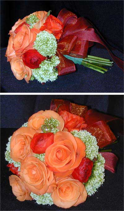 This beautiful bouquet is made of Tropical Amazon Roses orange Ranunculus