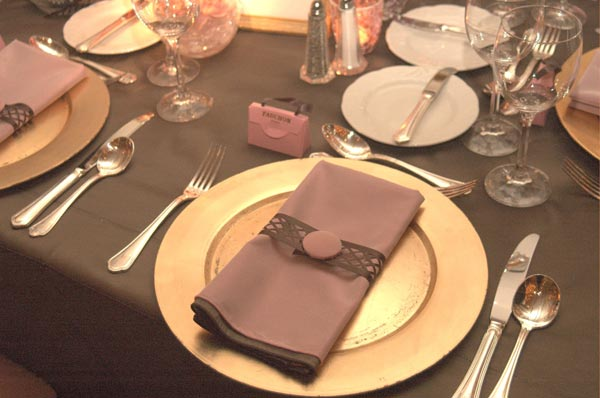Pink and Brown Color Scheme Wedding Table Decorations Chair Covers Linens