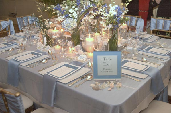 Coastal Beach Destination Wedding Table Decorations In Blue Color Scheme